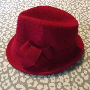 COPY - Red wool punch bow fedora is still availabl